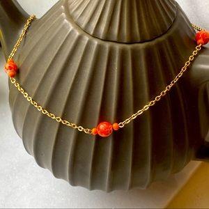 Vintage Costume Gold with Orange bead Chain